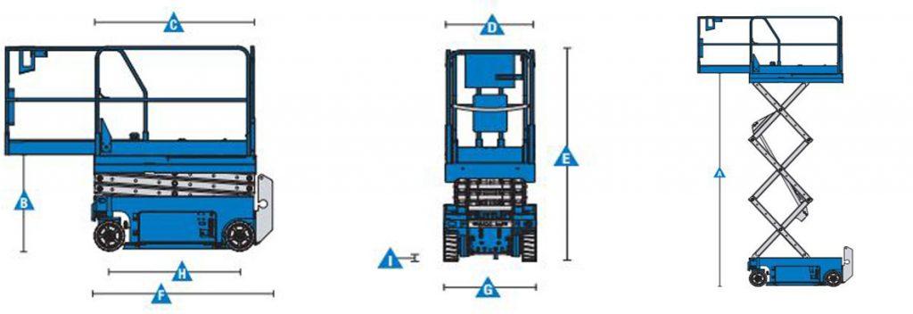 Bản vẽ 3 chiều xe nâng người cắt kéo